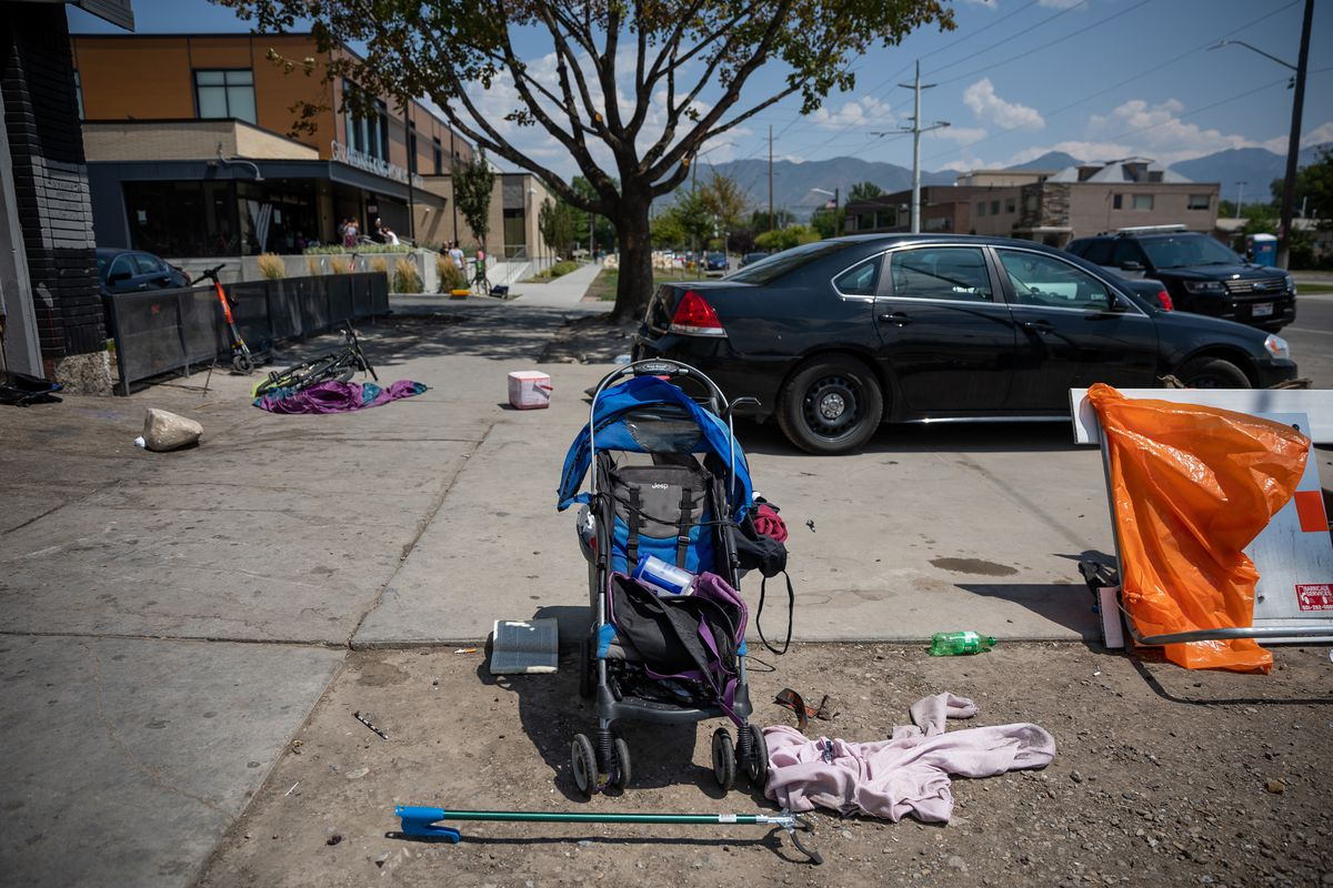 Remnants from a homeless camp outside of the Geraldine E. King Women's Center is pictured after police officers cleared out the area in Salt Lake City on Thursday, Aug. 5, 2021.