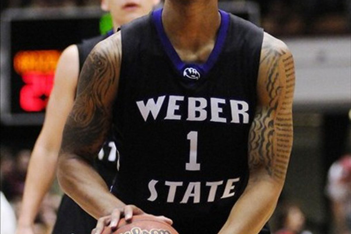 Weber State Wildcats guard Damian Lillard (1) attempts a free throw against the Montana Grizzlies during the first half of the finals of the 2012 Big Sky Tournament at Adams Center.  Mandatory Credit: James Snook-US PRESSWIRE