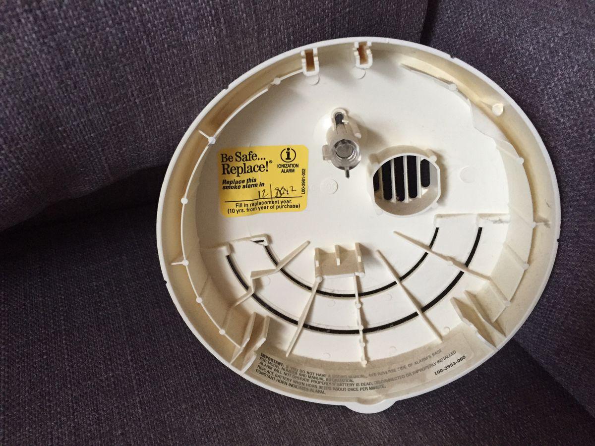 """Guilty: My smoke detector even had a """"Be safe … replace!"""" sticker inside, reminding us to replace it in 2012."""
