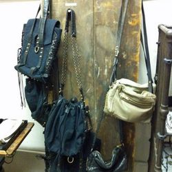 Canvas and lambskin leather and leather sample bags on sale