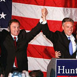 Jeanette and Gary Herbert and Jon and Mary Kaye Huntsman celebrate the first results of primary June 22.