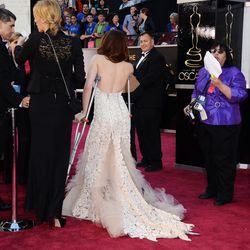 She arrived on crutches.