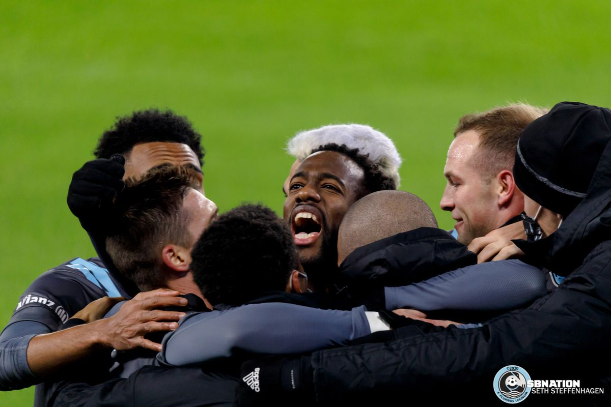 November 22, 2020 - Saint Paul, Minnesota, United States - Minnesota United midfielder Kevin Molino (7) celebrates with his teammates after scoring the opening goal during the first round playoff match against the Colorado Rapids at Allianz Field.