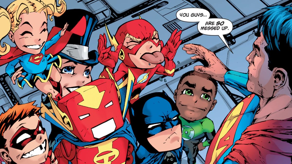 """While under the effects of magic kryptonite, Superman sees the Justice League as small, cartoony, large headed versions of themselves. """"You guys... are so messed up,"""" he says, in Superman/Batman #46, DC Comics (2008)."""