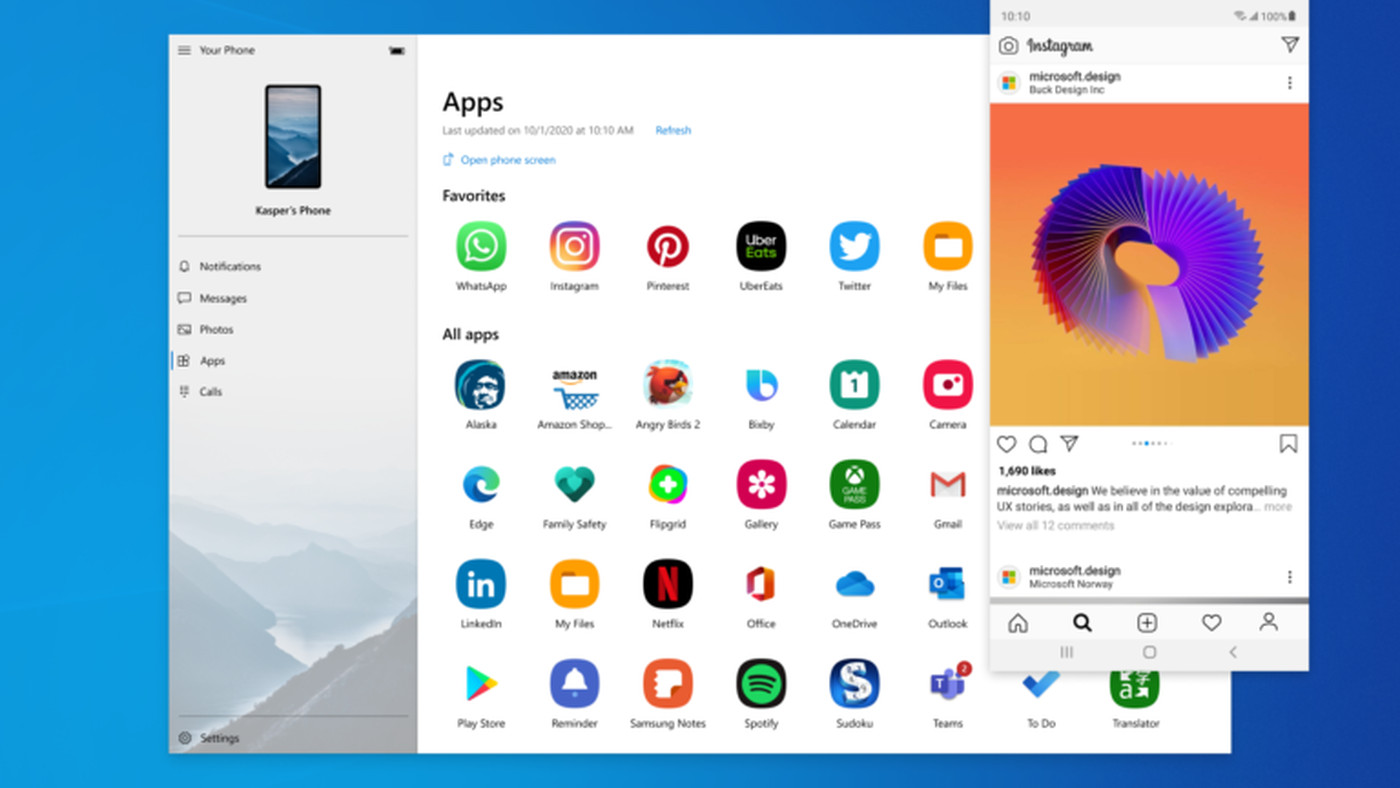 Microsoft Integrates Android Apps Into Windows 10 With New Your Phone Update The Verge
