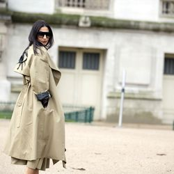 Embroidered trench coats in Paris.
