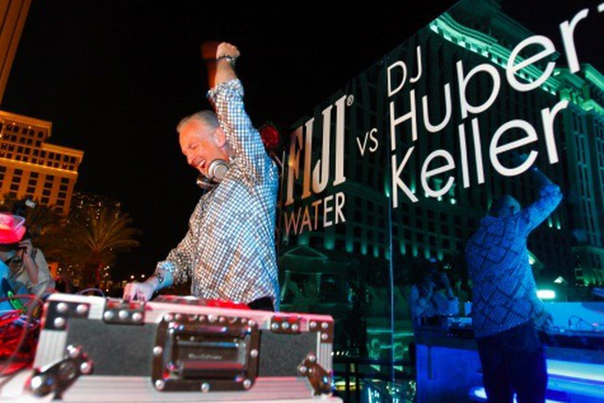 Chef Hubert Keller spinning in the FIJI Water DJ Booth at the Vegas Uncork'd Grand Tasting on May 7, 2010 at the Caesar's Palace in Las Vegas, NV.  Keith Shimada/AP.