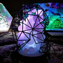 """An art project called """"The Skull"""" is on display at Lumen Land in Salt Lake City on Monday, Nov. 9, 2020."""