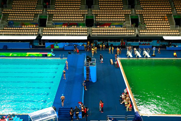 The diving pool at the Olympics is closed after turning ...