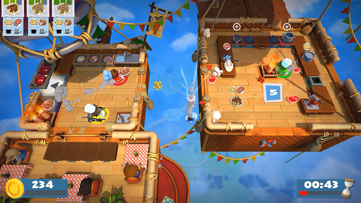 Overcooked 2 - kitchens in hot air balloons