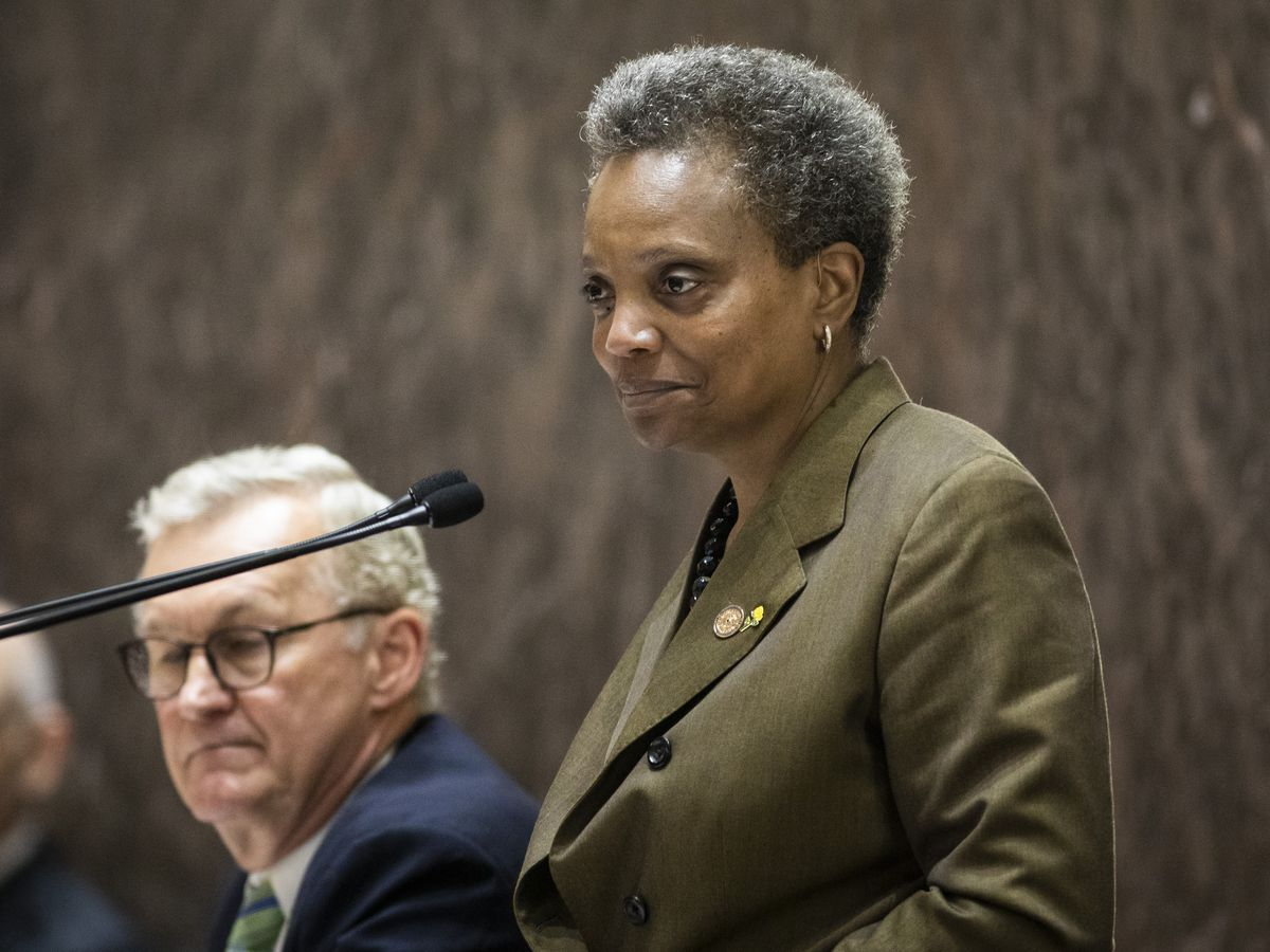 Mayor Lori Lightfoot presides over the June City Council meeting.