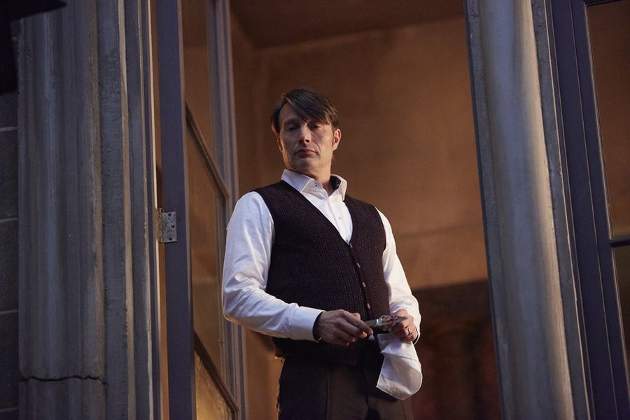Hannibal pushes Pazzi out the window on Hannibal.