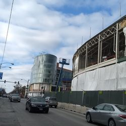 South face of the ballpark and Hotel Zachary