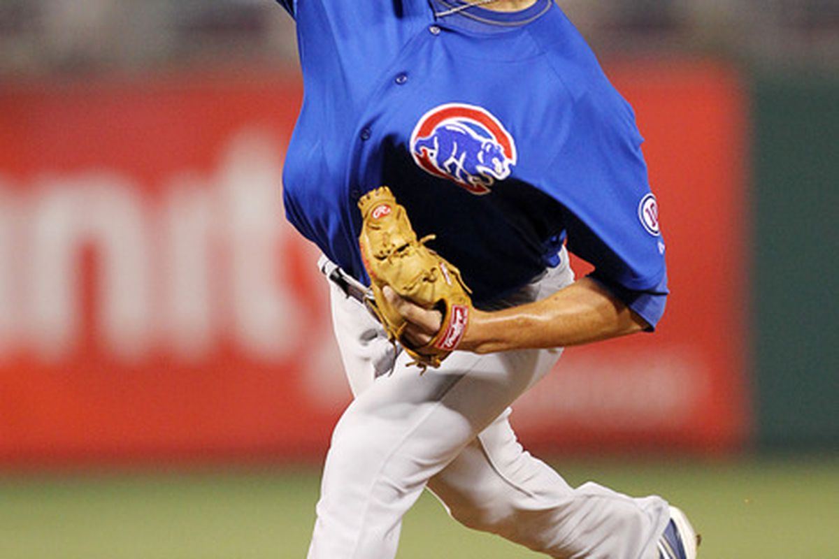 Relief pitcher Jeff Samardzija of the Chicago Cubs throws during a game against the Philadelphia Phillies at Citizens Bank Park on June 10, 2011 in Philadelphia, Pennsylvania. The Phillies won 7-5. (Photo by Hunter Martin/Getty Images)