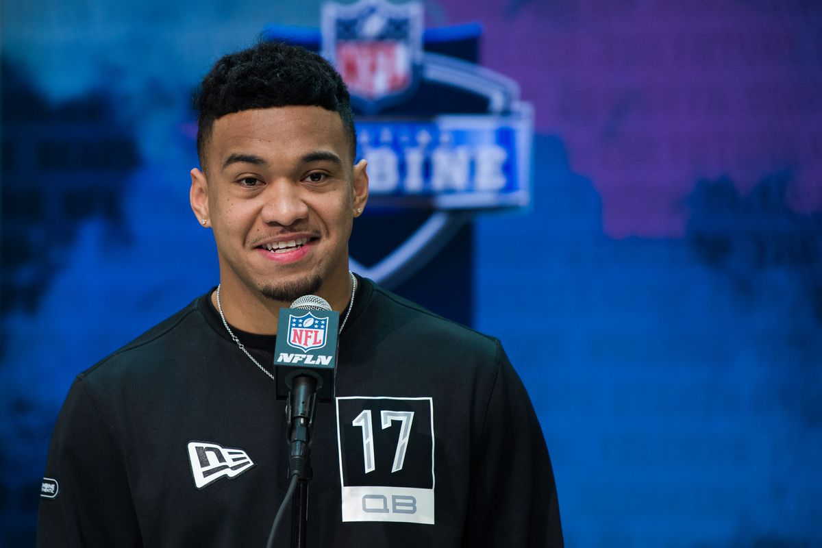 Alabama quarterback Tua Tagovailoa answers questions from the media during the NFL Scouting Combine on February 25, 2020 at the Indiana Convention Center in Indianapolis, IN.