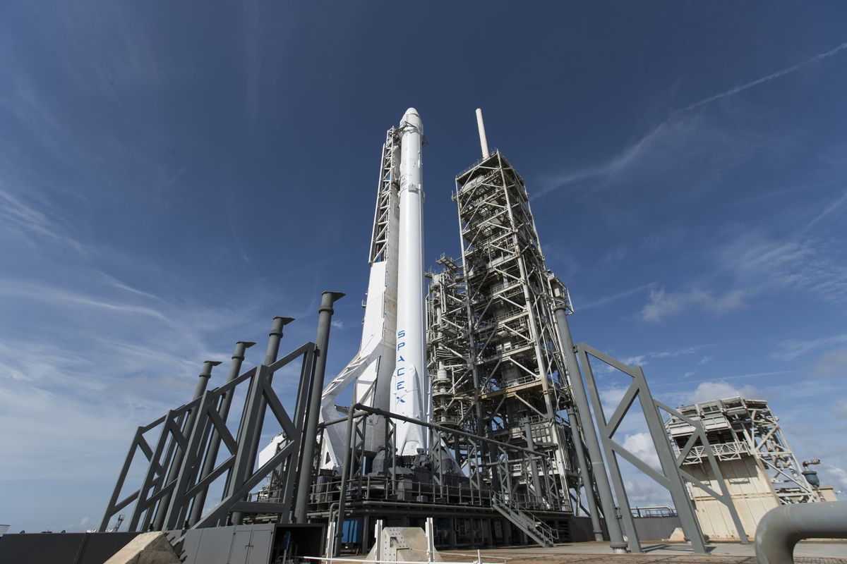 spacex s falcon 9 rocket prior to the launch of a cargo resupply mission in june image spacex