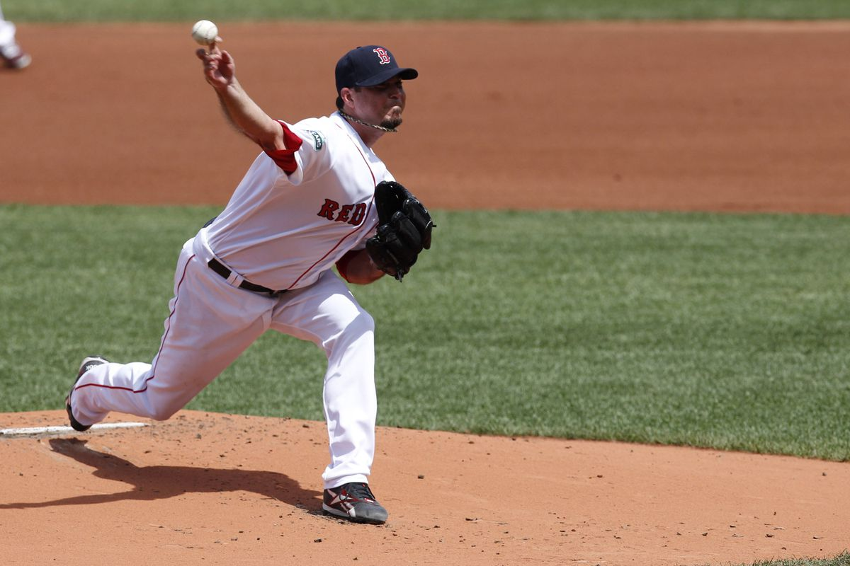 August 08, 2012; Boston, MA, USA; Boston Red Sox pitcher Josh Beckett (19) delivers a pitch against the Texas Rangers during the first inning at Fenway Park.  Mandatory Credit: Greg M. Cooper-US PRESSWIRE