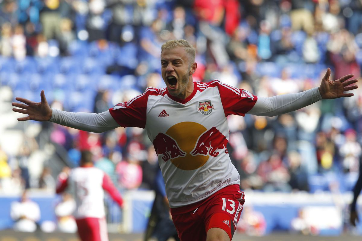 Red Bulls winger Mike Grella opened the scoring before fans could take their seats in Sunday's rivalry game.