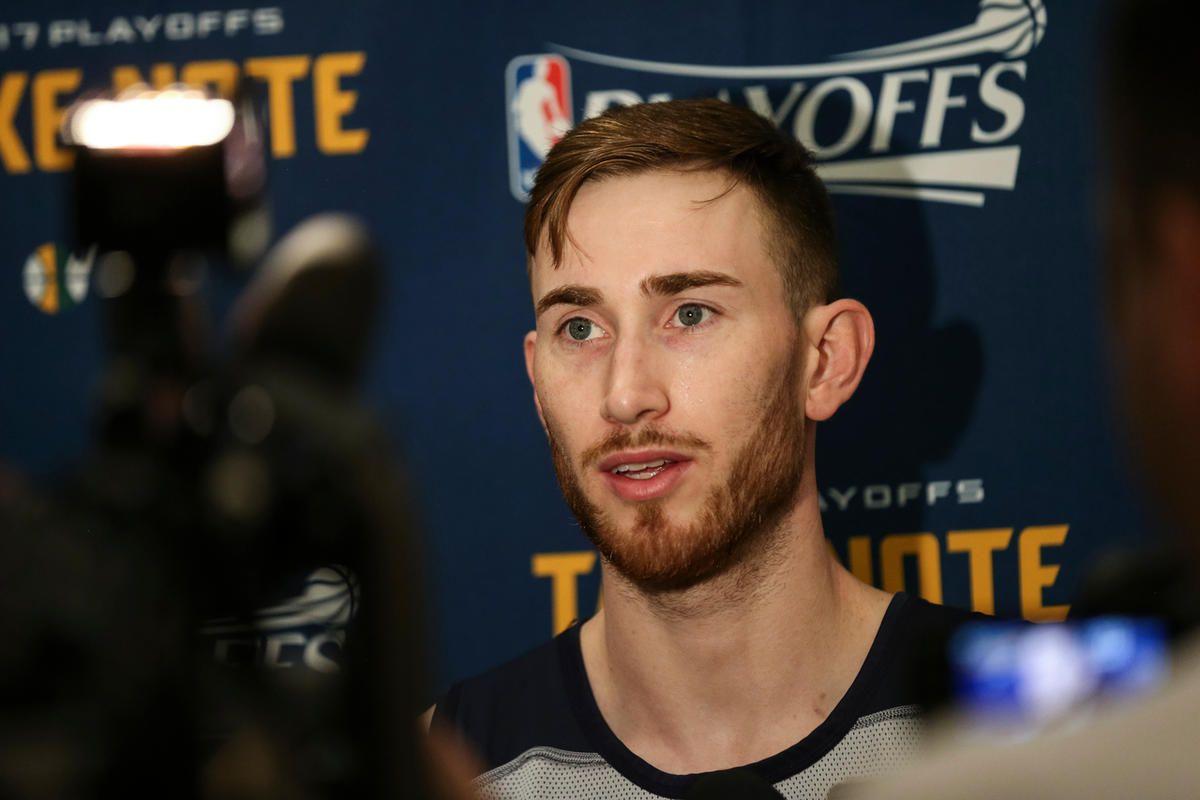 Utah Jazz forward Gordon Hayward talks to reporters at a media availability at the Equinox Sports Club in San Francisco on Thursday, May 04, 2017.