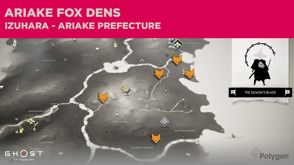 Fox Den locations in Ariake in Ghost of Tsushima