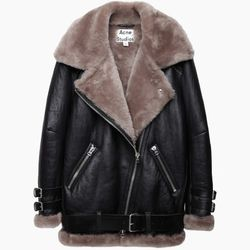 """<strong>Stage Seven:</strong> For those who are seriously committed to living their cuddliest life, both emotionally and financially.<br></br>  Acne Studios 'Velocite' shearling jacket, <a href=""""http://www.lagarconne.com/store/item.htm?itemid=26372&sid="""