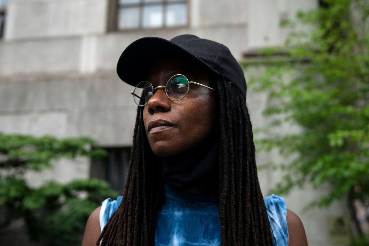 """""""There are people from all walks of life at these protests and that makes me feel like there is hope for change, said writer Asiya Wadud during an anti-police brutality protest outside Brooklyn Borough Hall, June 5, 2020."""