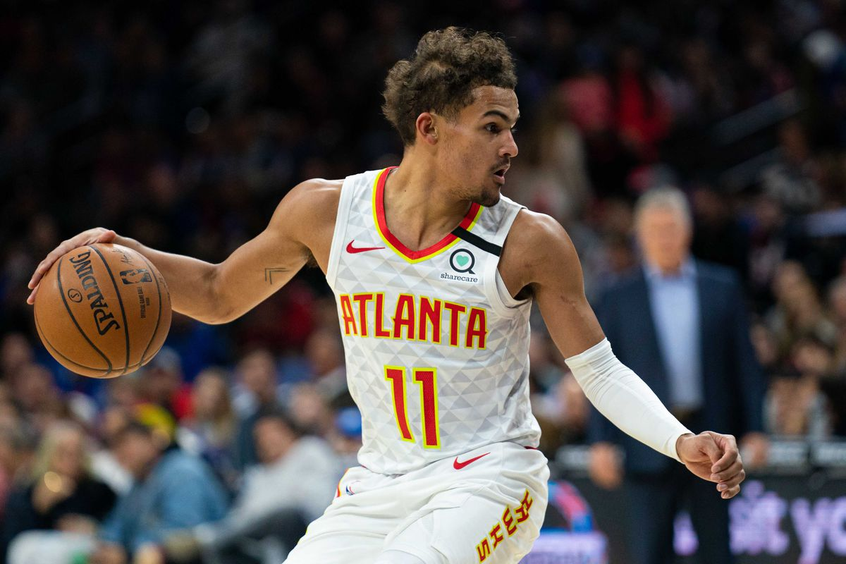 Atlanta Hawks guard Trae Young controls the ball against the Philadelphia 76ers during the second quarter at Wells Fargo Center.