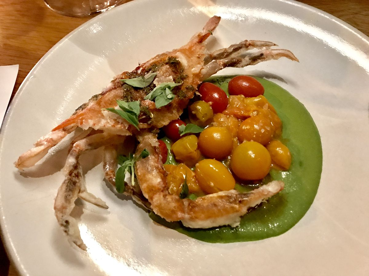Cosme's fried soft-shell crab