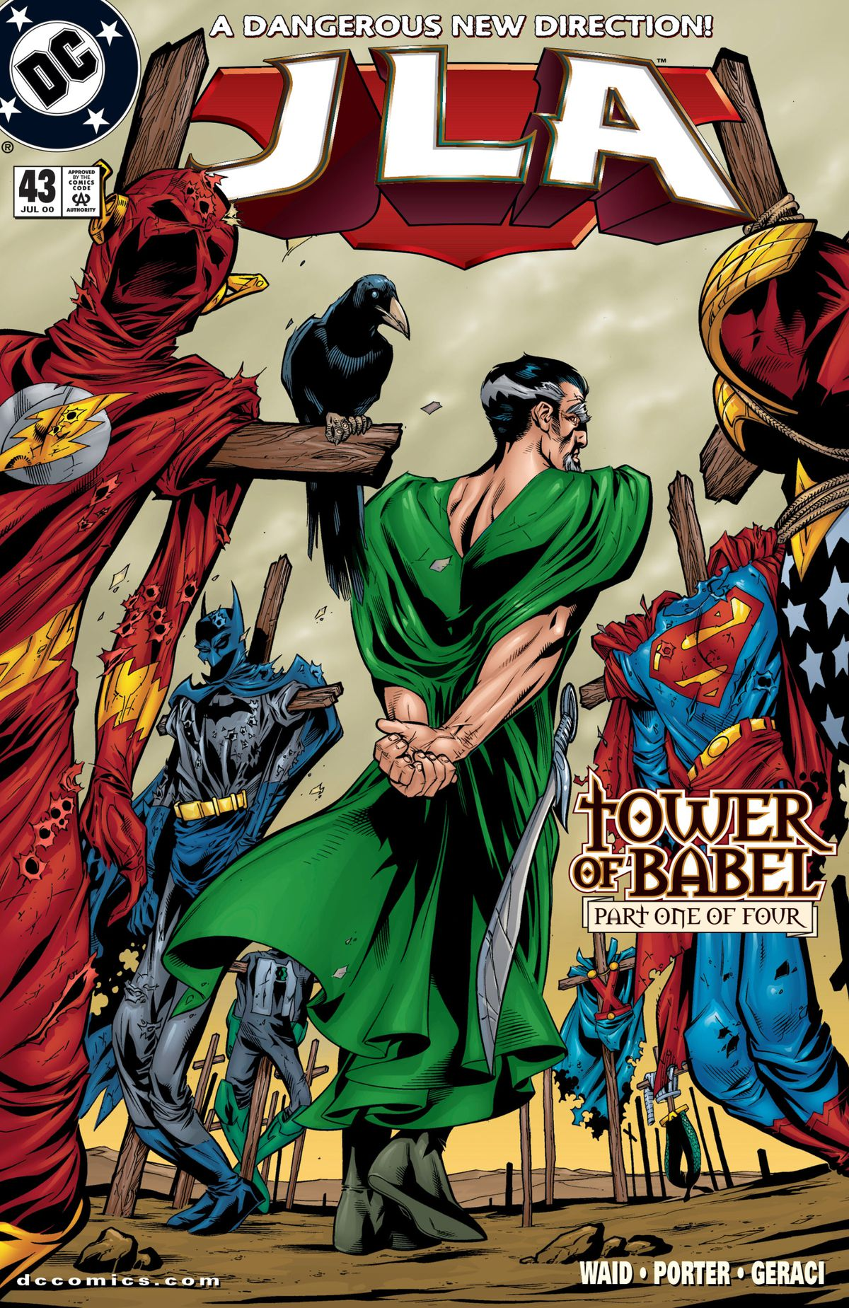 Ra's al Ghul turns his back on a field of crosses hung with the tattered costumes of the Justice League on the cover of JLA #43, DC Comics (2000).