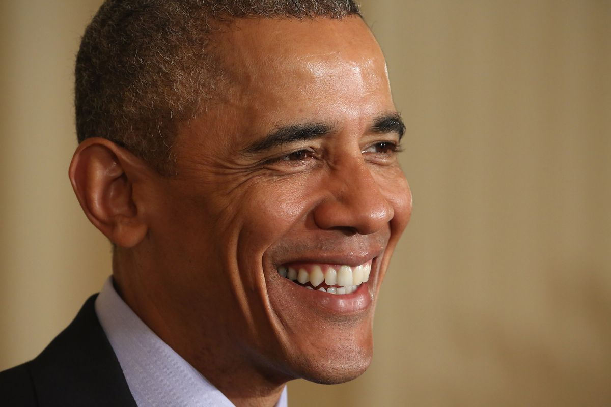 Obama with a great big smile