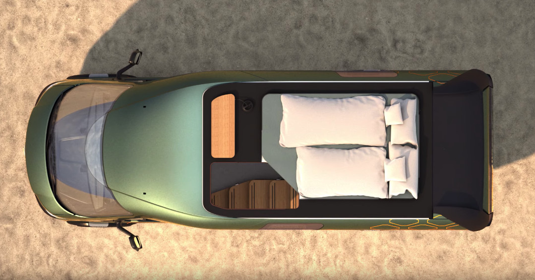 A rendering shows an aerial view of the sleeping area on the camper, with two white sleeping bags and pillows.