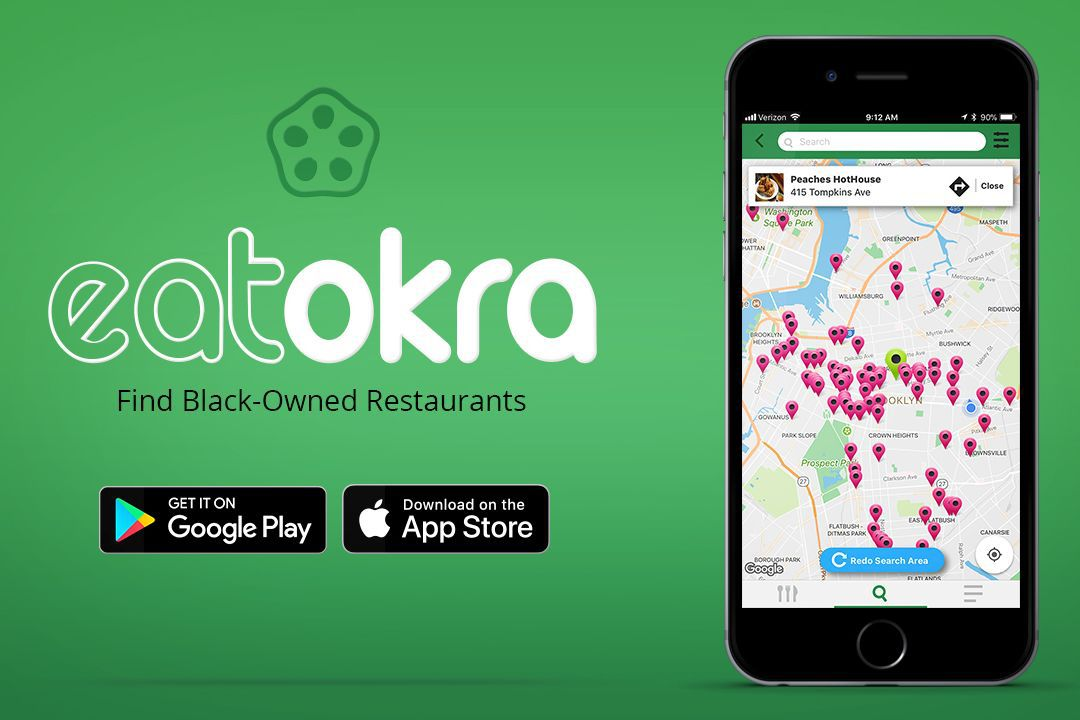 An ad for the EatOkra app with download buttons for Google Play and the Apple App Store and a photo of what the app looks like
