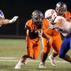 Orem plays Skyridge in a high school football game at Skyridge High School in Lehi on Friday, Sept. 3, 2021. Skyridge won 36-0.
