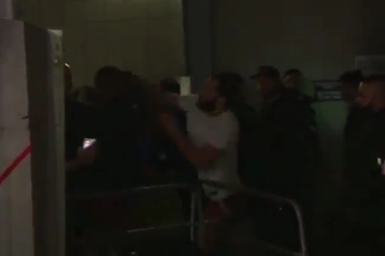 Jorge Masvidal (right) in a physical altercation with fellow UFC fighter Leon Edwards (left)