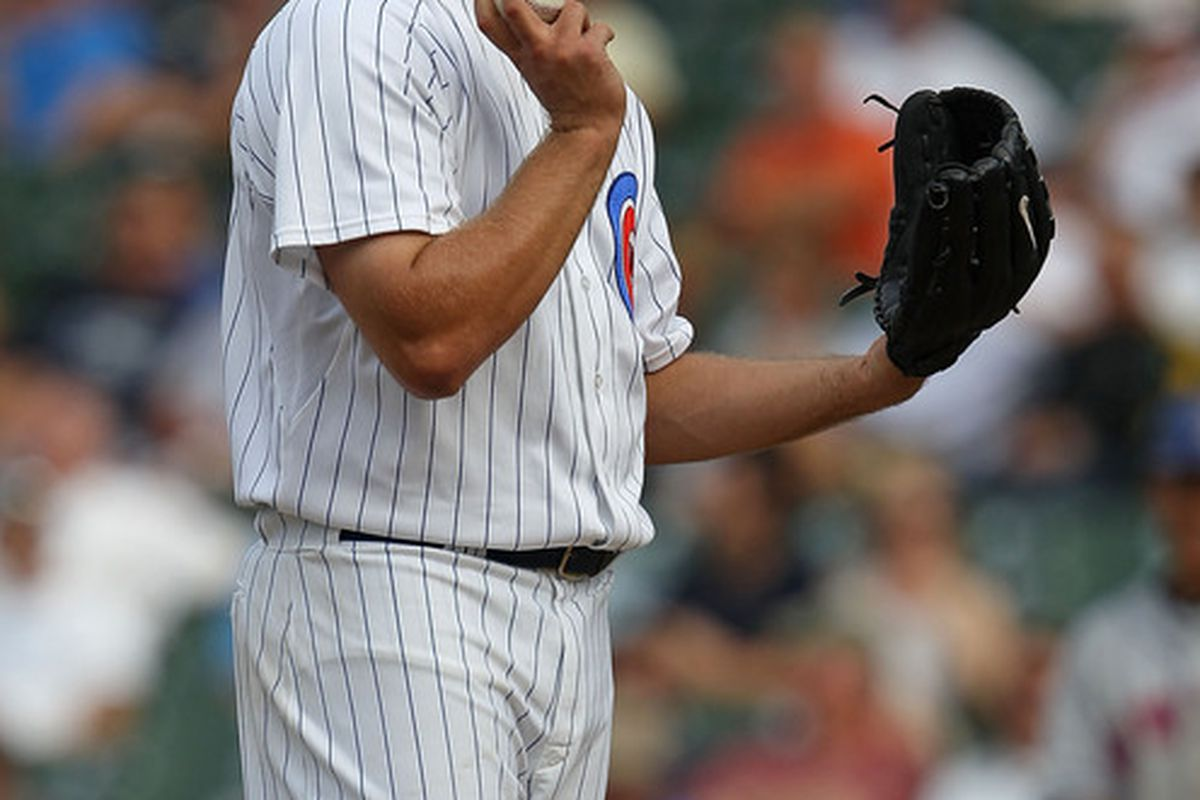 CHICAGO - SEPTEMBER 05: Thomas Diamond #20 of the Chicago Cubs reacts after giving up a run to the New York Mets at Wrigley Field on September 5 2010 in Chicago Illinois. The Mets defeated the Cubs 18-5. (Photo by Jonathan Daniel/Getty Images)