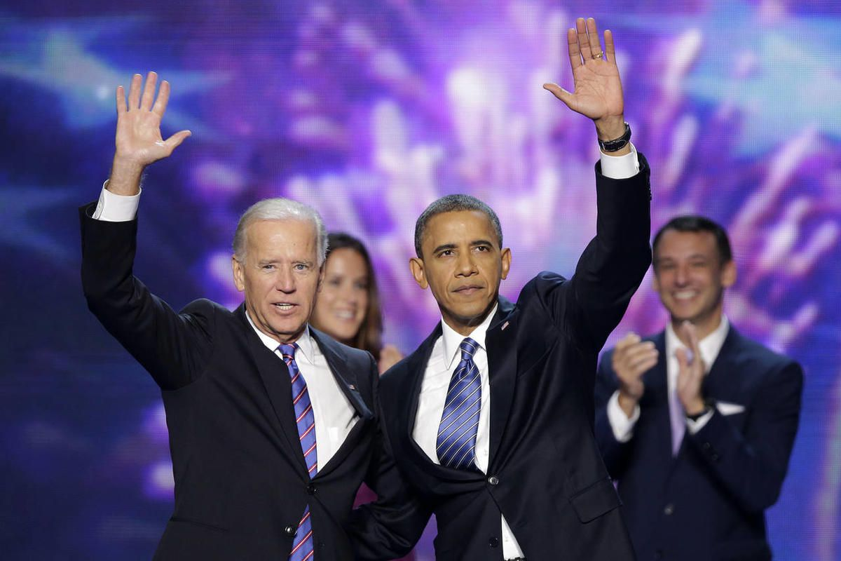 Vice President Joe Biden and President Barack Obama wave to the delegates at the conclusion of Presdident Obama\'s speech at the Democratic National Convention in Charlotte, N.C., on Thursday, Sept. 6, 2012.