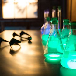 In the Classroom, guests can duel each other in a battle of wills by moving a marble. The soymilk-filled potion bottles light up as the marble rolls from one side to the other