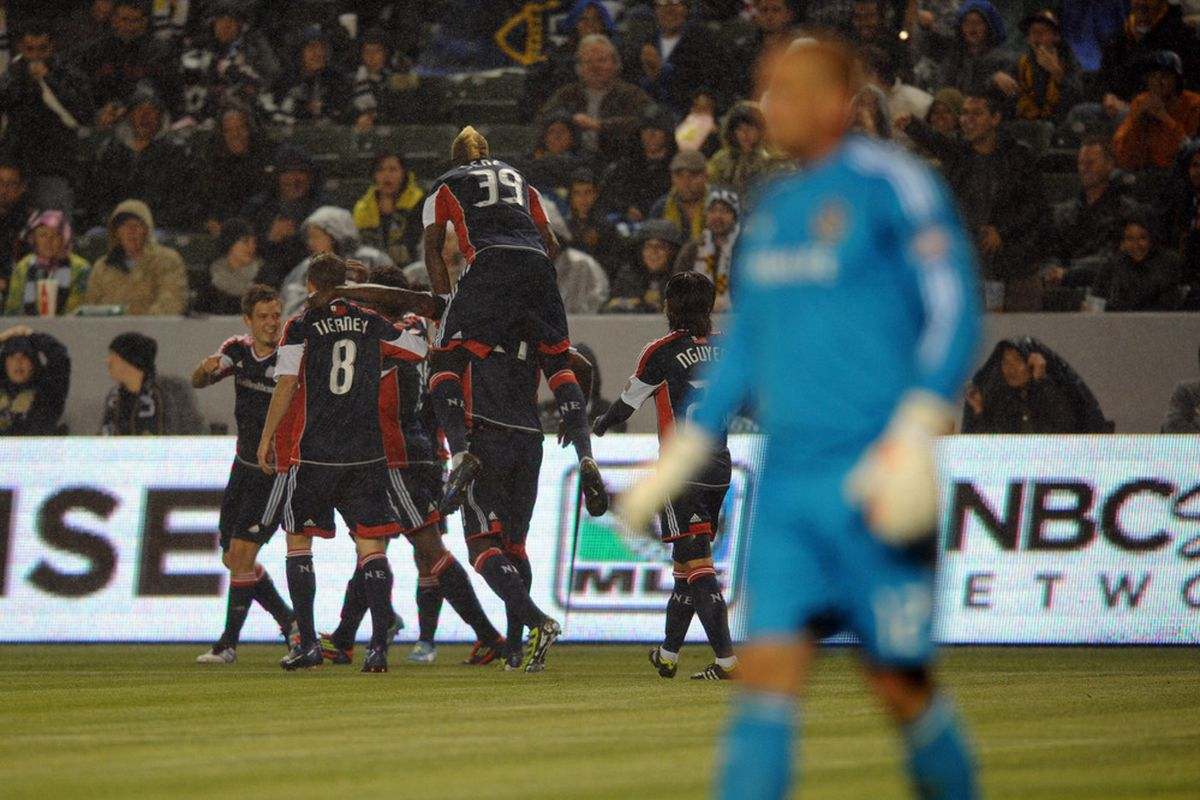 Mar 31, 2012; Carson, CA, USA; New England Revolution celebrate after a goal by New England Revolution midfielder Kelyn Rowe (11) against the Los Angeles Galaxy during the first half at the Home Depot Center. Mandatory Credit: Kelvin Kuo-US PRESSWIRE