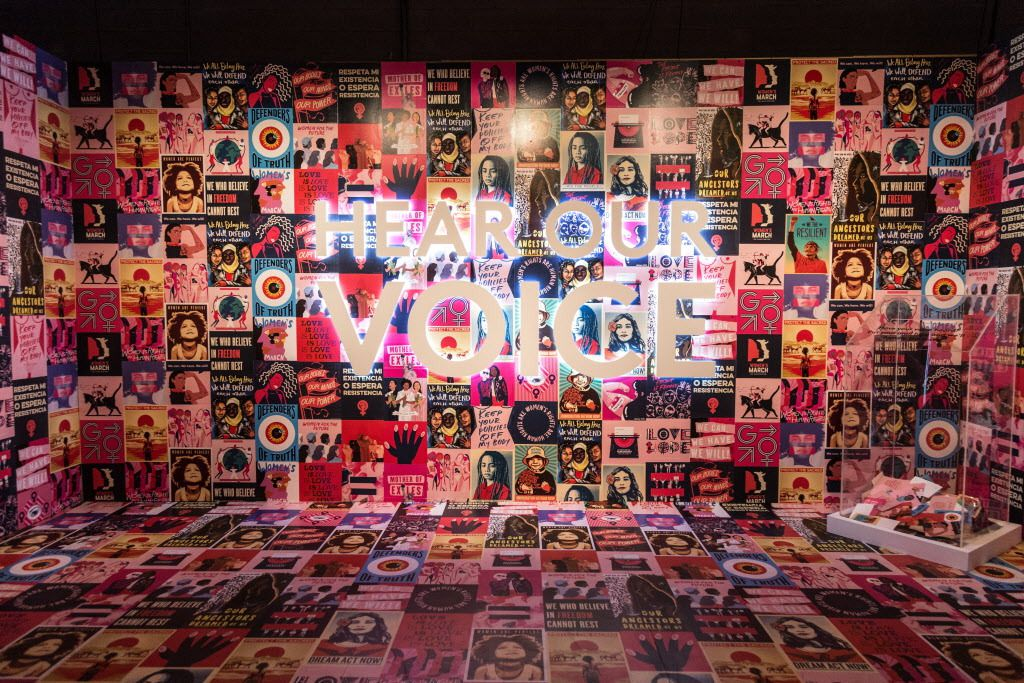 """The Women's March collaborated with Refinery29 for their room called """"Hear Our Voice,"""" where people can write letters to their representatives and view other women's rights inspired artwork. Experience it this weekend at 29Rooms Chicago.   Erin Brown/Sun-"""