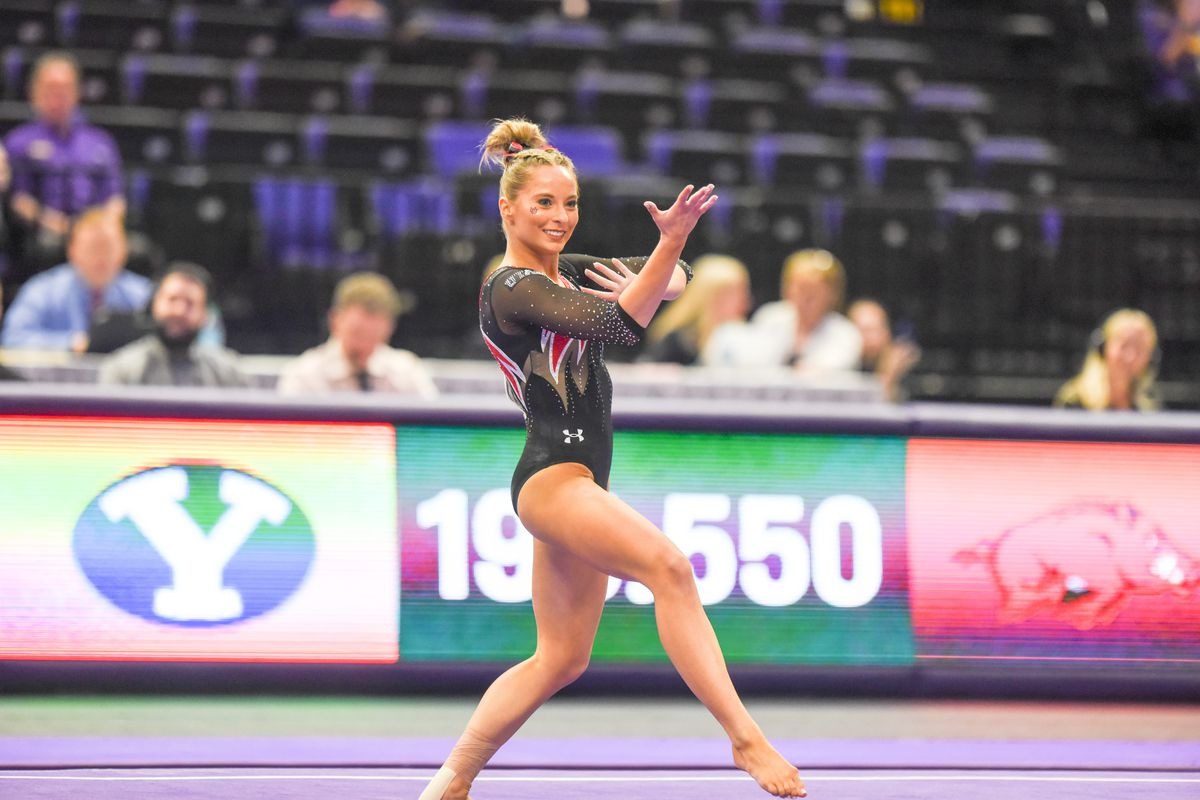 Utah junior MyKayla Skinner competes in the floor during the NCAA Baton Rouge Regional in Baton Rouge, La., on Friday, April 5, 2019. Skinner won the floor title with a score of 9.925.