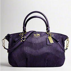 Madison Gathered Leather Large Sophia Satchel in Purple ($598)