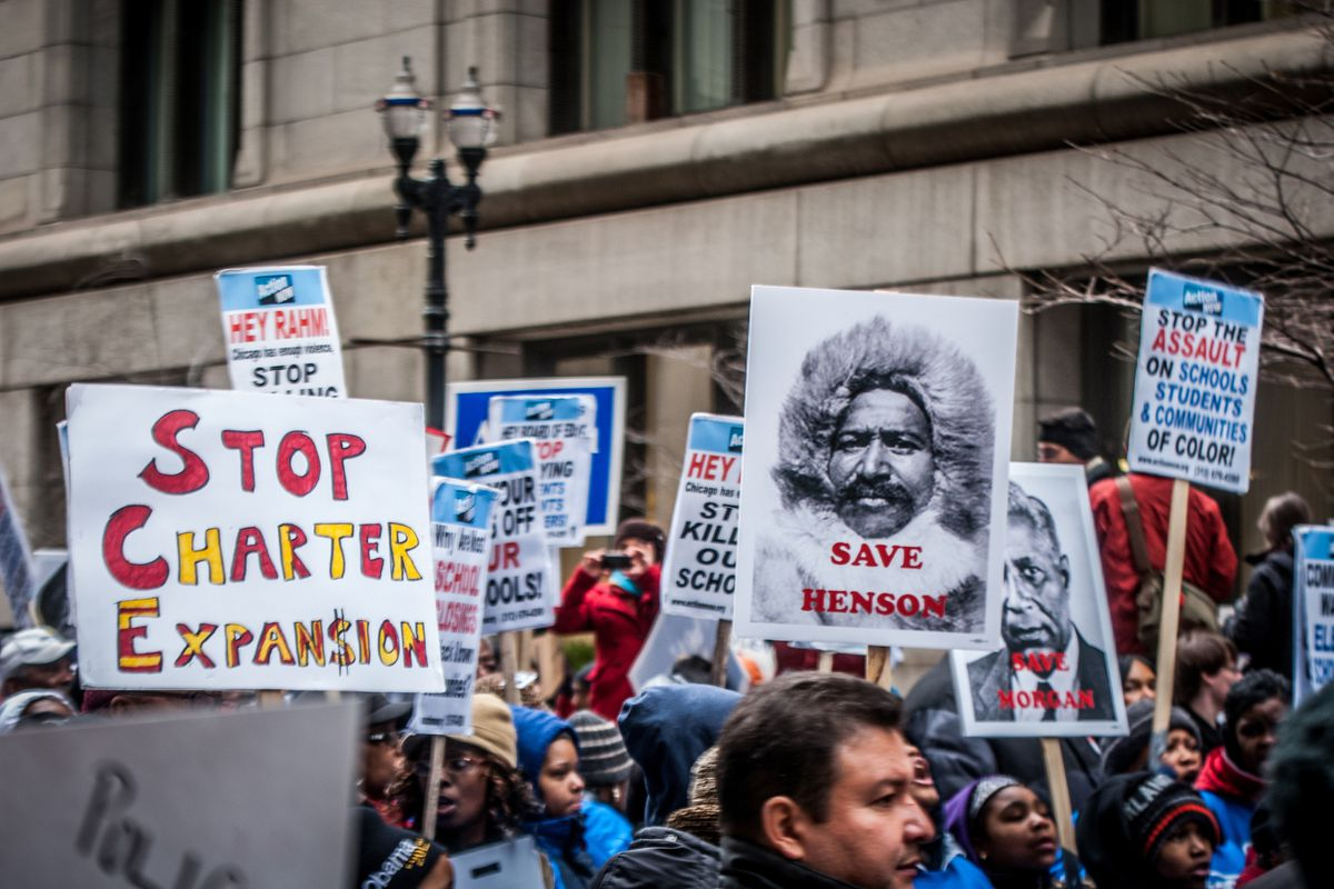 A protest against school closings in Chicago.