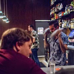 Tending bar at The SOS.