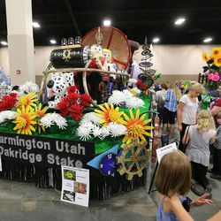 """Farmington Utah Oakridge Stake float of """"Time Machine Mountain"""" at the Pioneer Day Float Preview Party at the South Towne Exposition Center, July 20, 2015, in Sandy."""