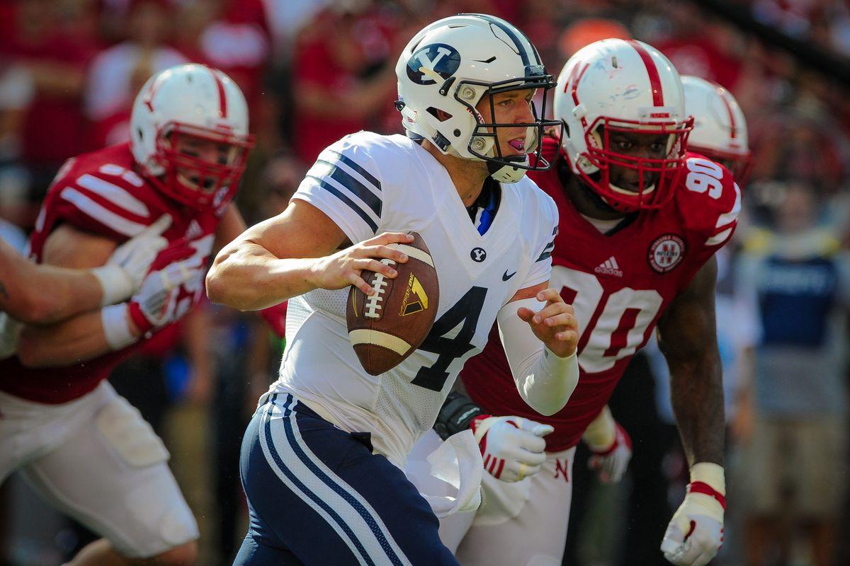 Taysom Hill looks downfield against Nebraska