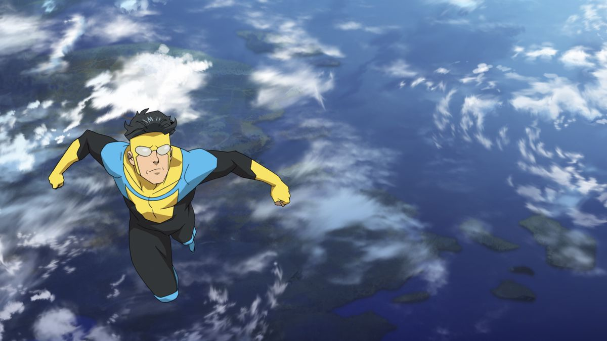 Invincible flies from earth into outer space.