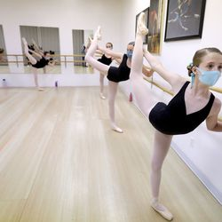 Sophia Whitchurch takes a ballet class at Bountiful School of Ballet in Woods Cross on Thursday, Sept. 17, 2020.