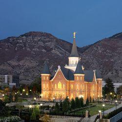 Provo City Center Temple at dusk in Provo.