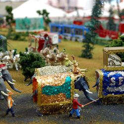 The circus has come to town in Pioneer Village. Tapestry-draped miniature elephants on parade, tents and scores of tiny circus performers, employees and patrons inhabit a world of their own, lovingly created in miniature by David Ogden and on display at Lagoon.