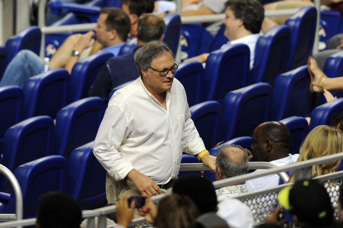 Aug 13, 2012; Miami, FL, USA; Miami Marlins owner Jeffrey Loria is seen leaving the game to beat the traffic in the seventh inning during a game against the Philadelphia Phillies at Marlins Park. Mandatory Credit: Steve Mitchell-US PRESSWIRE